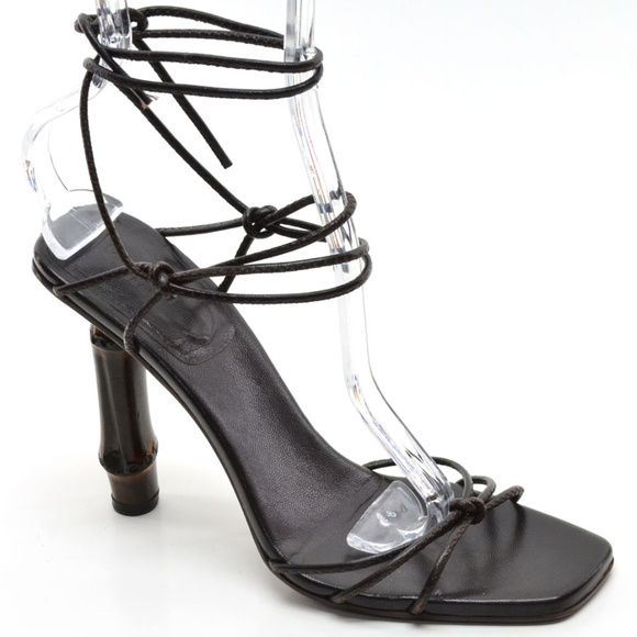 46d58a175 Gucci Shoes | Bamboo Strappy Ankle Tie Sandals 65 B | Poshmark